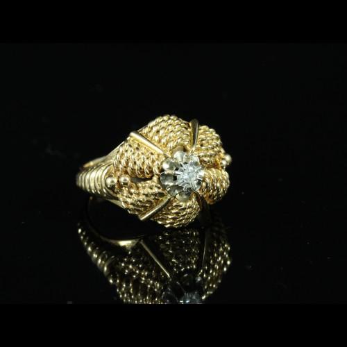 Bague or jaune juponnée