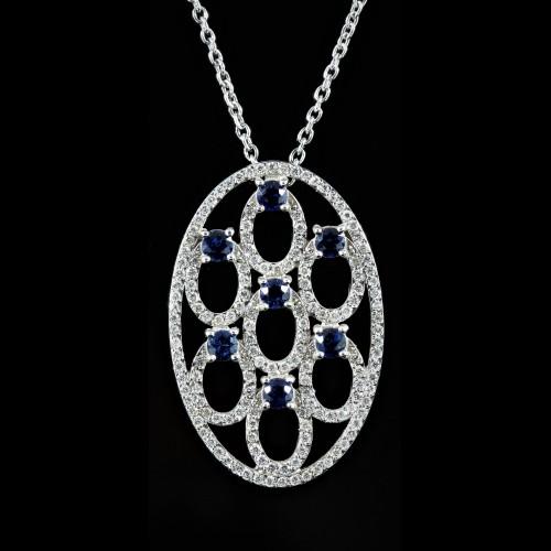 Pendentif diamants et saphirs