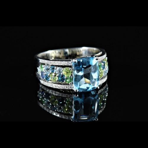 Bague composition bleue