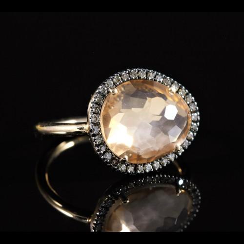 Bague cristal et diamants