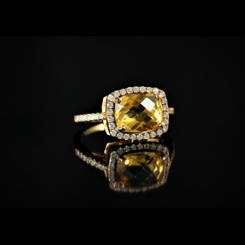 Bague citrine diamants